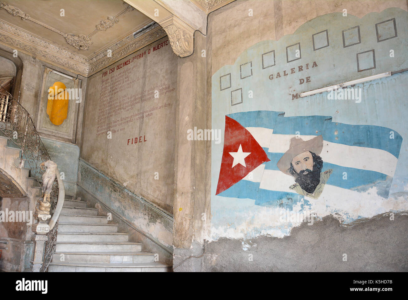 HAVANA, CUBA - JULY 23, 2016: Paladar La Guarida Restaurant staircase and mural. The restaurant is located on the third floor of the historic building - Stock Image