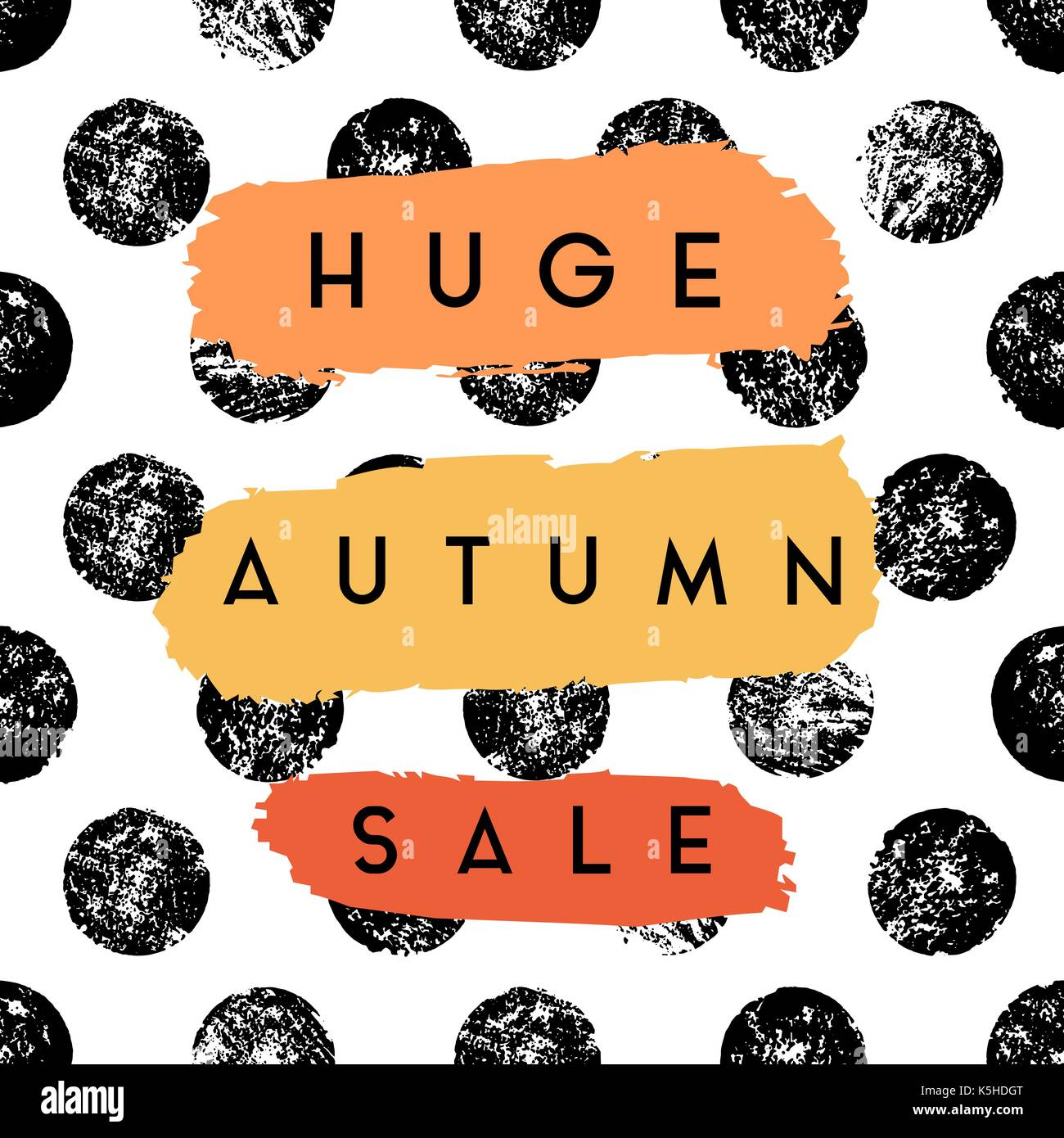Abstract autumn sale design with text on colorful brush strokes on textured dots background. Poster, brochure or greeting card square template with sa - Stock Vector