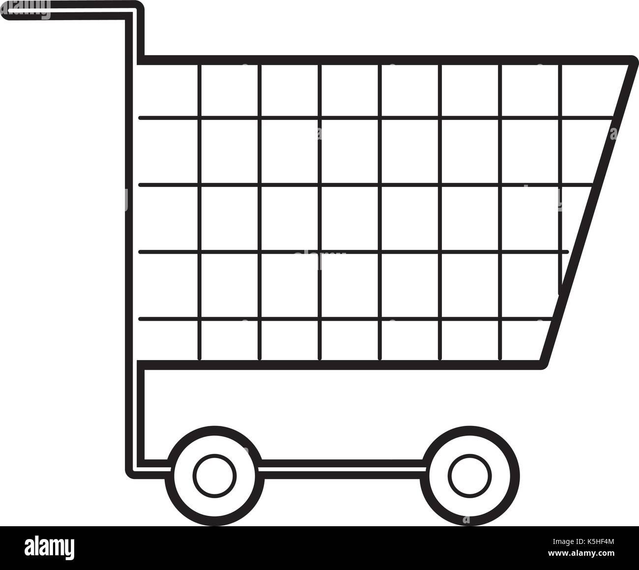 cart shopping empty supermarket instrument object commerce - Stock Image