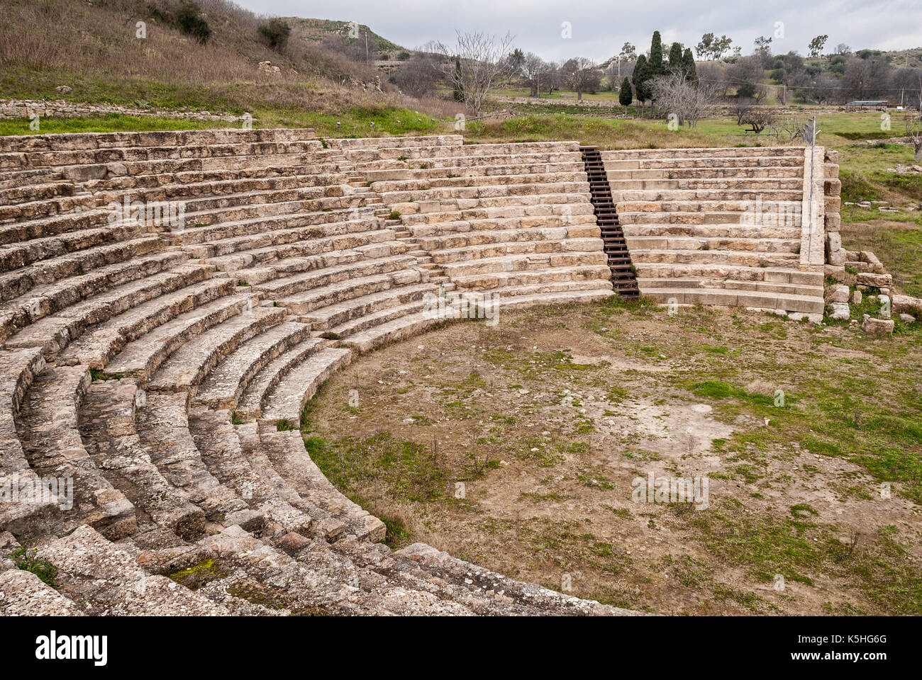 The theater of the ancient greek city of Morgantina, in Sicily - Stock Image