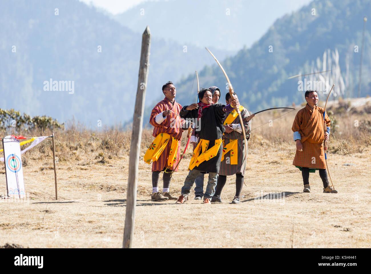 Local archery competition in Phobjikha Valley, Western Bhutan Stock Photo