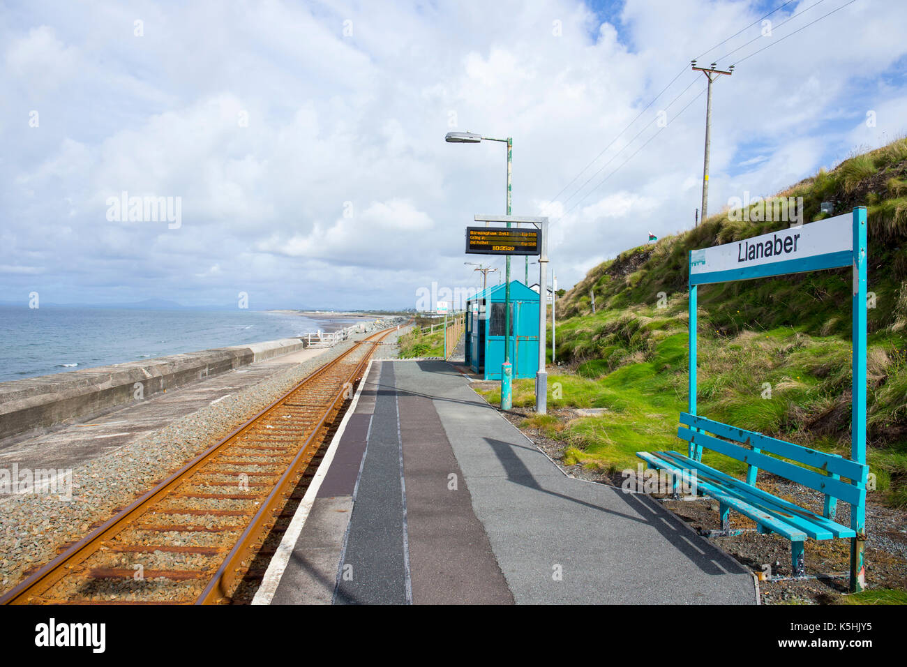 Llanaber railway station,a request stop, near Barmouth on the Cambrian Coast Line Gwynedd North Wales UK - Stock Image