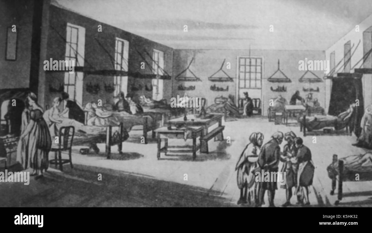 A ward in the Middlesex Hospital ( Edinburgh medical training school)  London UK  circa 1800 Stock Photo