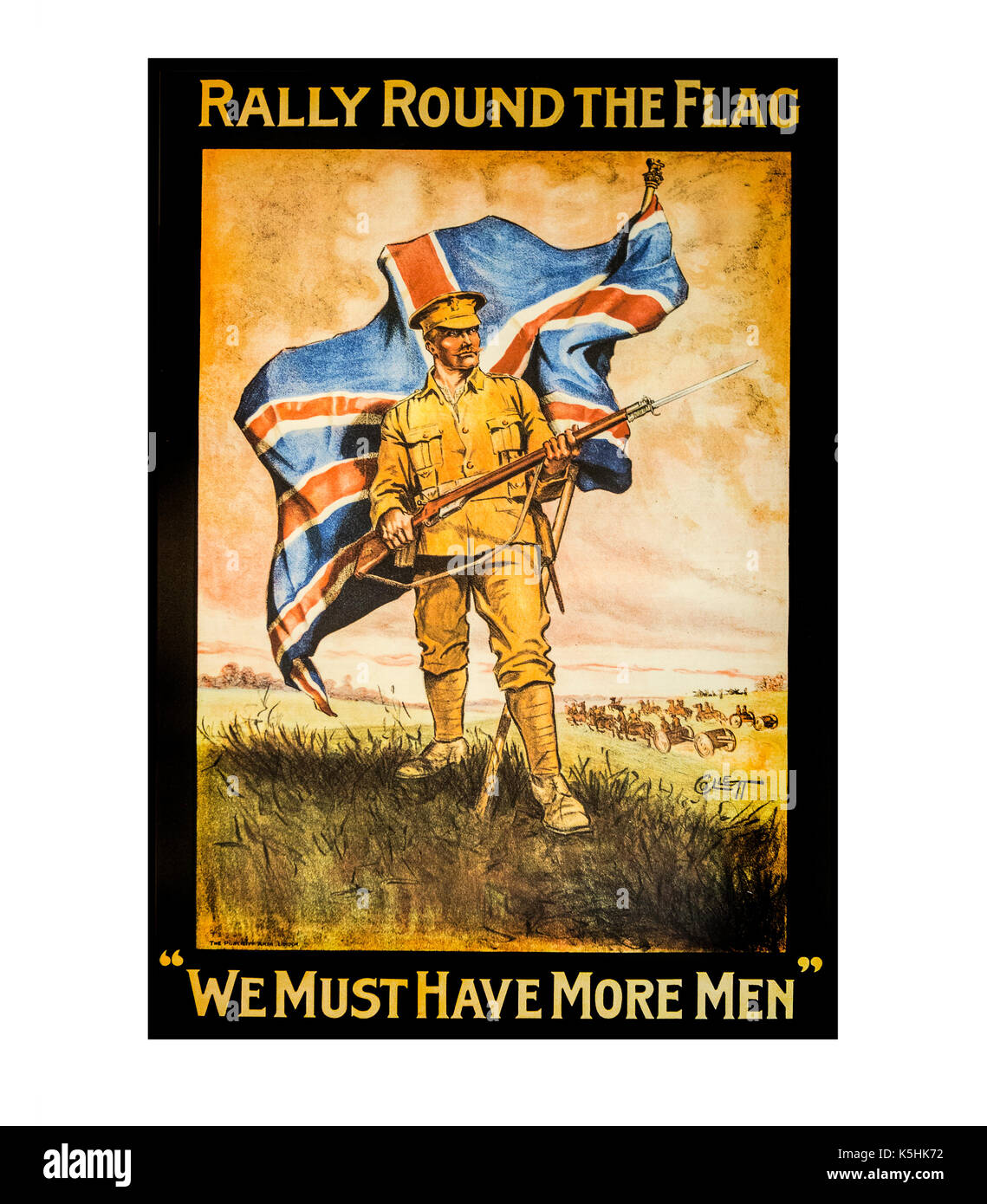 SWINDON, UK - SEPTEMBER 10, 2017: Rally round the flag. 'We must have more men' - 1915 recruitment poster - Stock Image