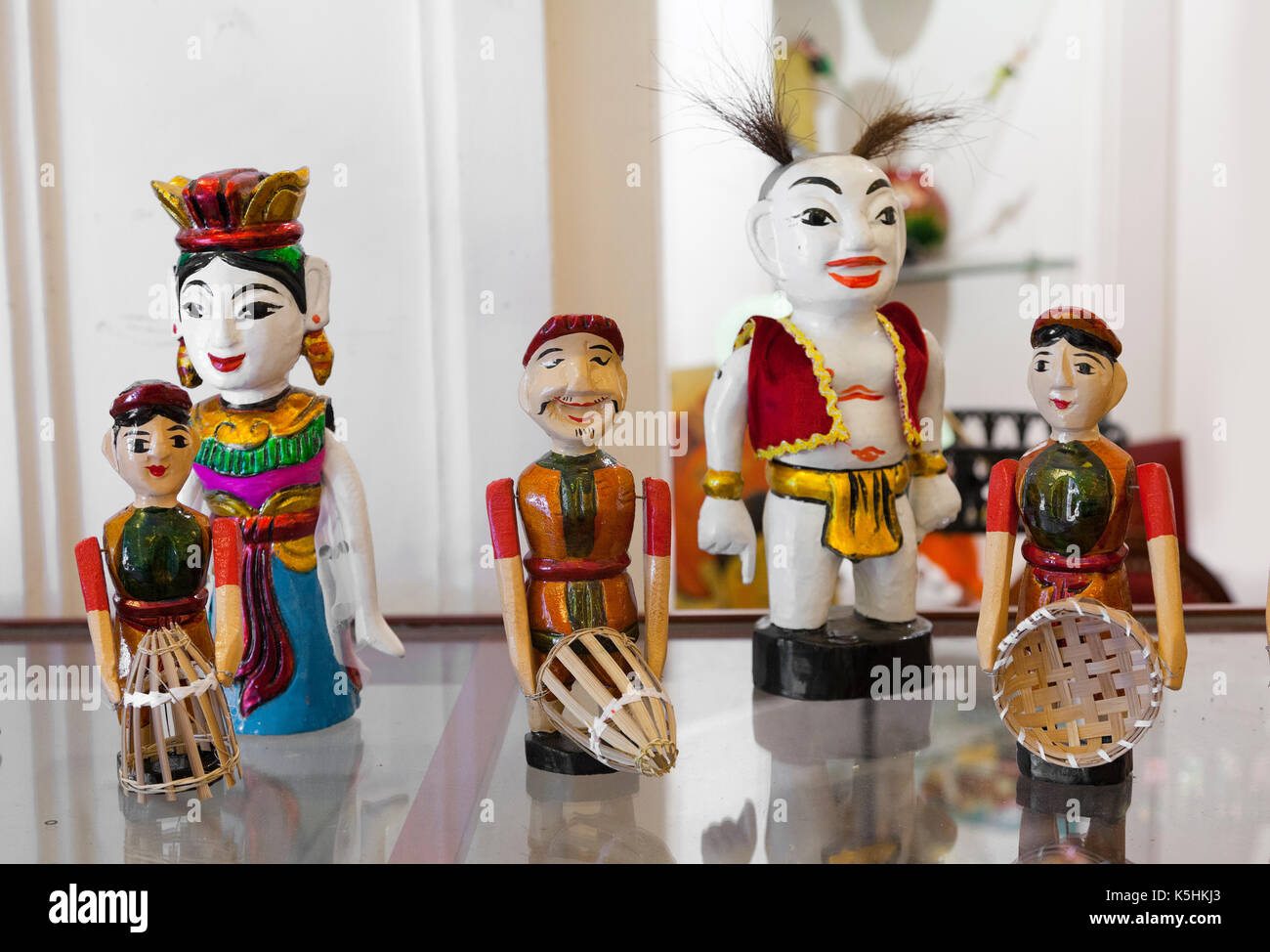 Thăng Long water theatrical wooden puppets, Hanoi, Vietnam Stock Photo