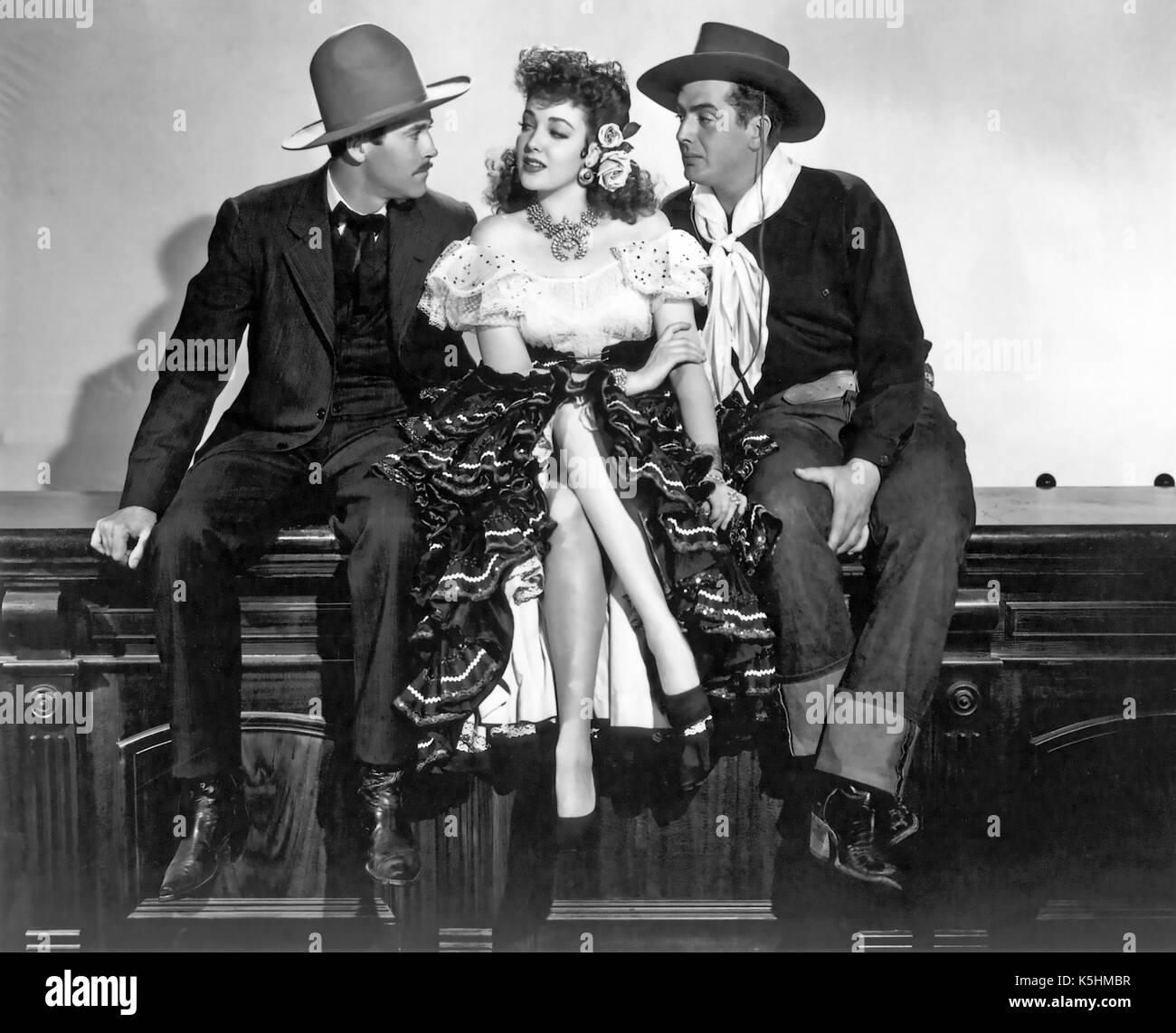 MY DARLING CLEMENTINE 1946 Twentieth Century Fox film with from left: Henry Fonda, Linda Darnell, Victor Mature - Stock Image