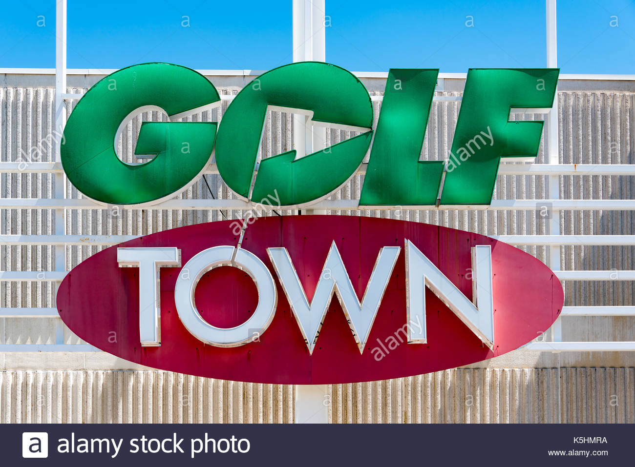 Golf Town signage on its store in Canada. It has all items related to golf from clubs, bags and balls, to footwear, apparel, accessories and gifts at  - Stock Image