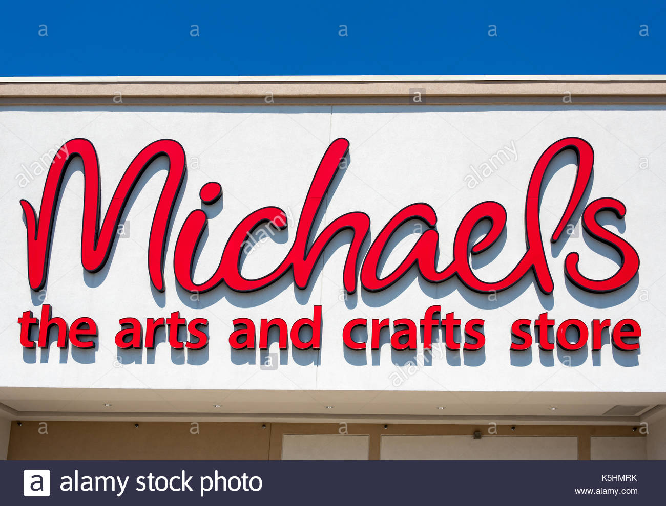 Michaels art store entrance. Michaels is a North American arts and crafts retail chain known for selling high quality artistic merchandise. - Stock Image