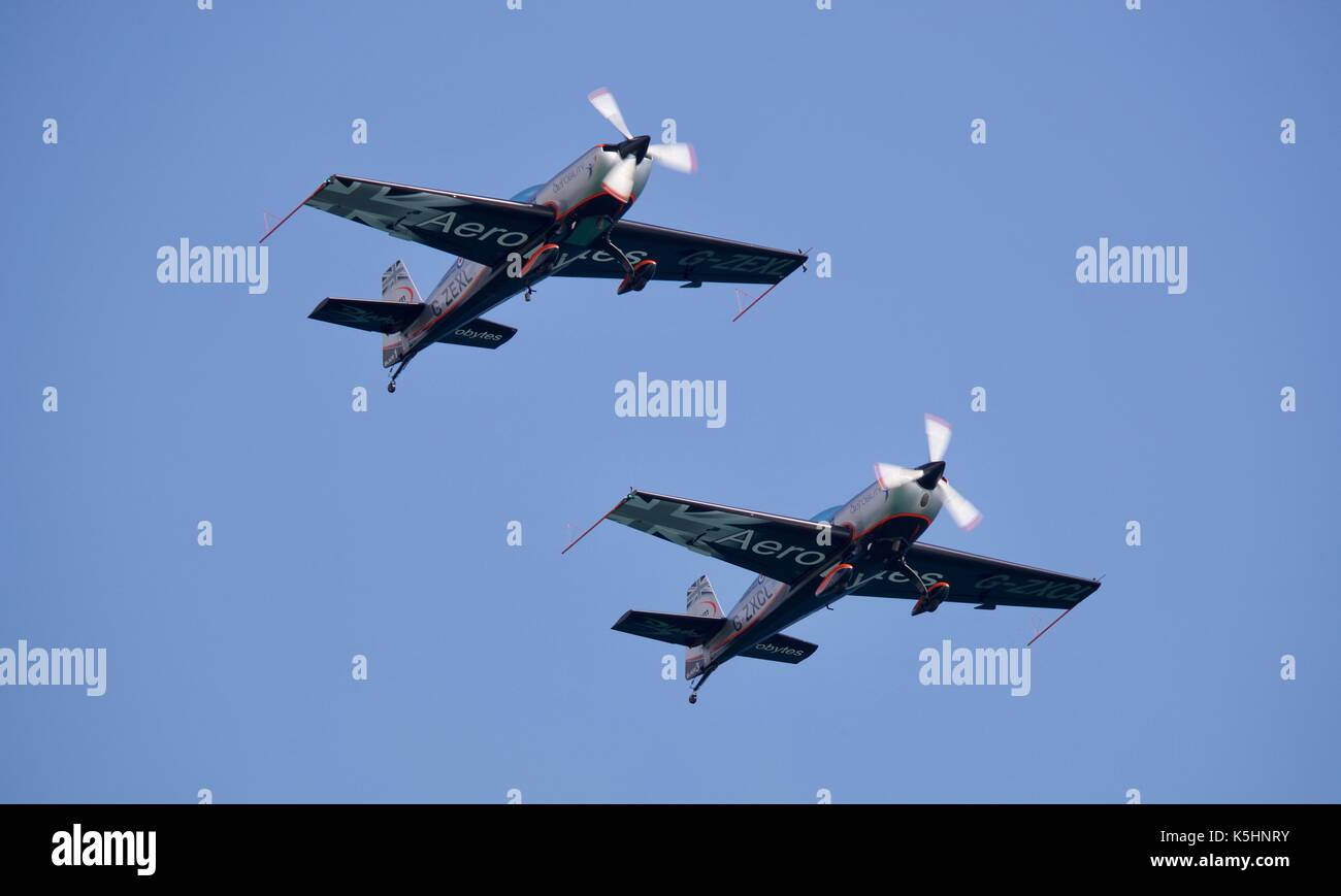 The Blades Aerobatic Team performing there dynamic routine at the 2017 Bournemouth Air Festival - Stock Image