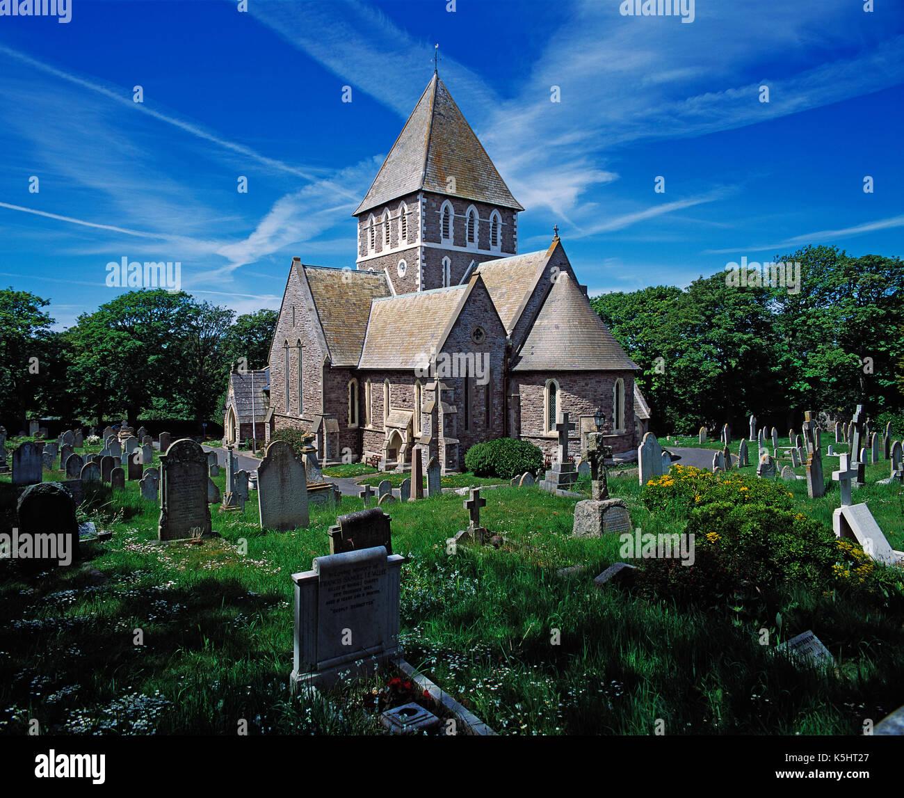 Channel Islands. Alderney. St. Anne's Church. - Stock Image