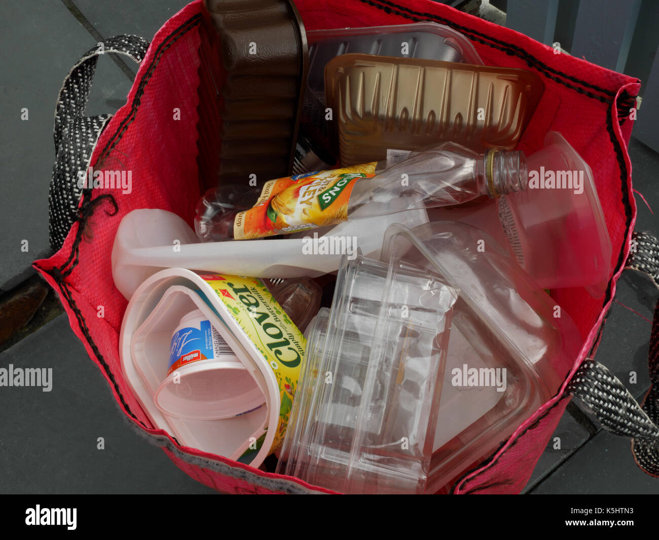 Recycling plastic containers for household collection. Stock Photo