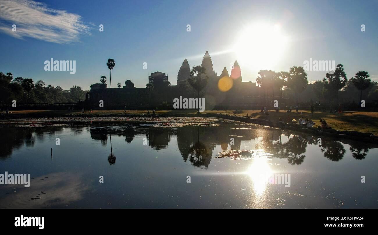 view of angkor wat temple, Krong Siem Reap, Cambodia - Stock Image
