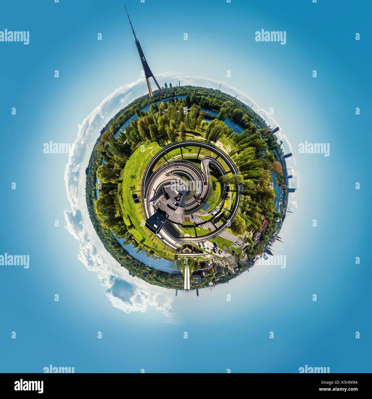 Little planet 360 degree sphere. Panorama of Riga city, Latvia - Stock Image