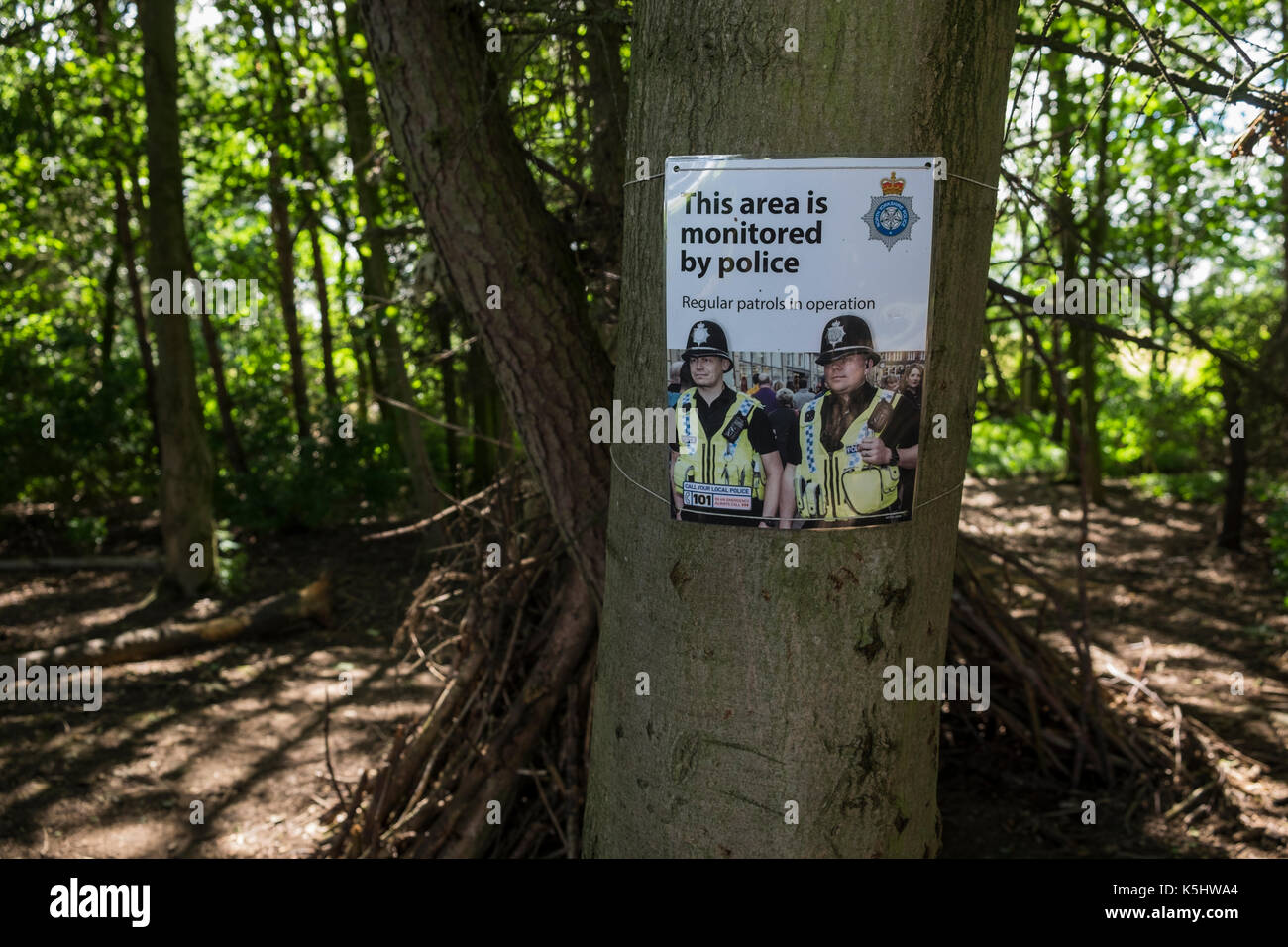 Poster advising of regular police patrols in a wooded area in North Yorkshire, England, UK - Stock Image