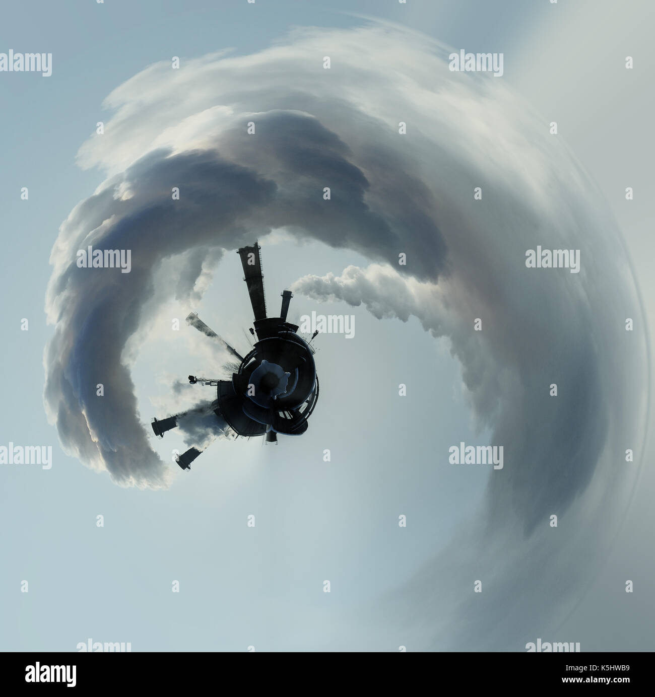 Little planet 360 degree sphere. Smoke from factory pipes. Conceptual image - Stock Image