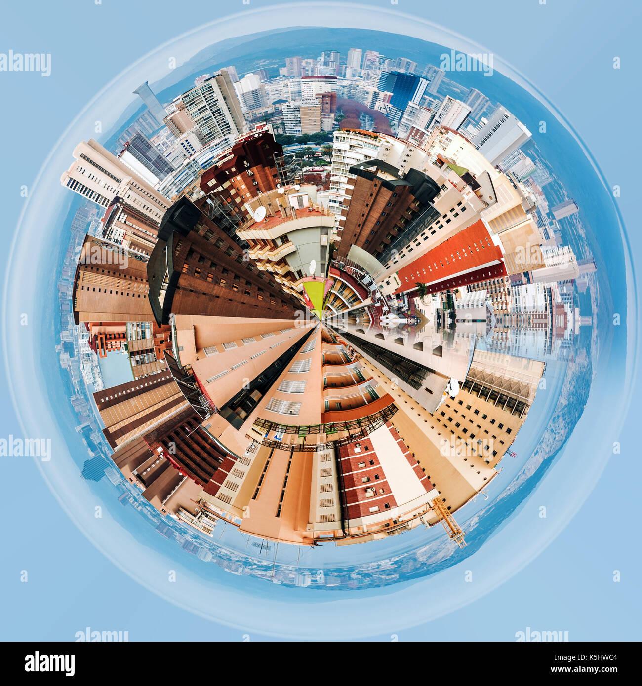Little planet 360 degree sphere. Modern skyscrapers of Benidorm. Benidorm is a coastal city in Alicante, Spain - Stock Image