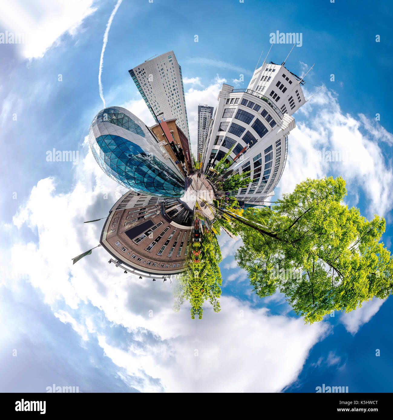 Little planet 360 degree sphere. Panorama of Eindhoven city, Netherlands Stock Photo