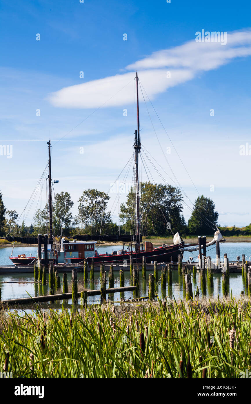Two masted ketch sailing vessel at dock in Steveston near Vancouver Stock Photo