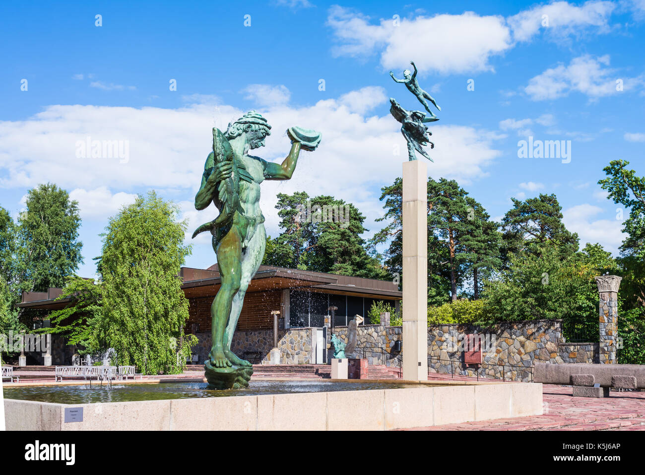 STOCKHOLM, SWEDEN - JULY 31, 2017: Poseidon statue created by Carl Milles, a Swedish sculptor, in the museum of Millesgarden in Stockholm, Sweden - Stock Image