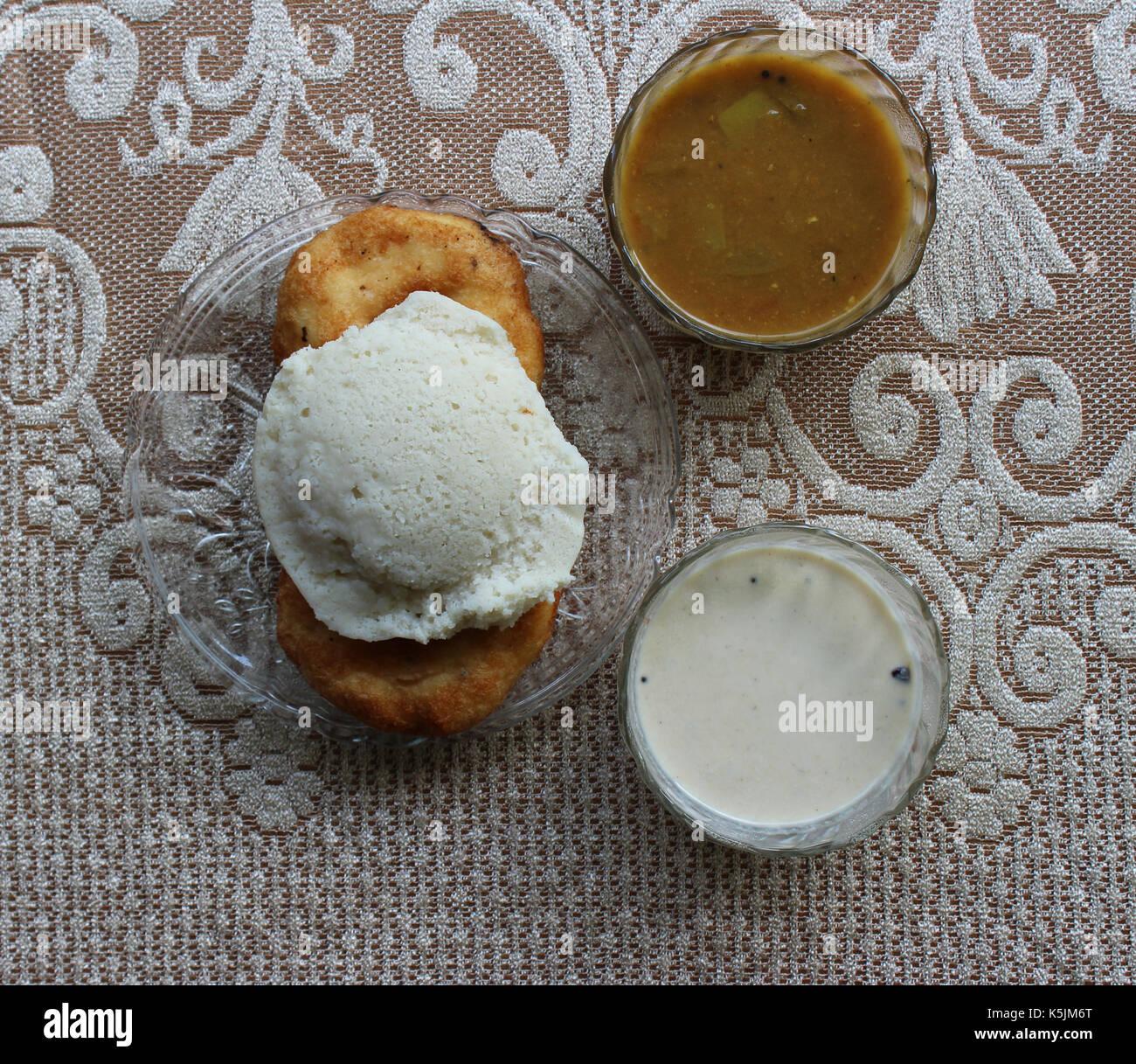 Sambhar,vada,idli and coconut chutney Stock Photo