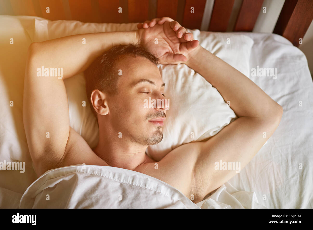 One Young Men Sleeping In Bed Above View Stock Photo Alamy