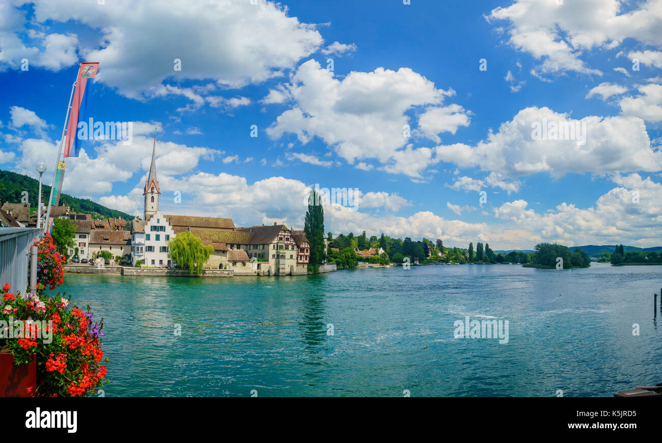 The beautiful Stein am Rhein is a historic town and a municipality in the canton of Schaffhausen in Switzerland - Stock Image
