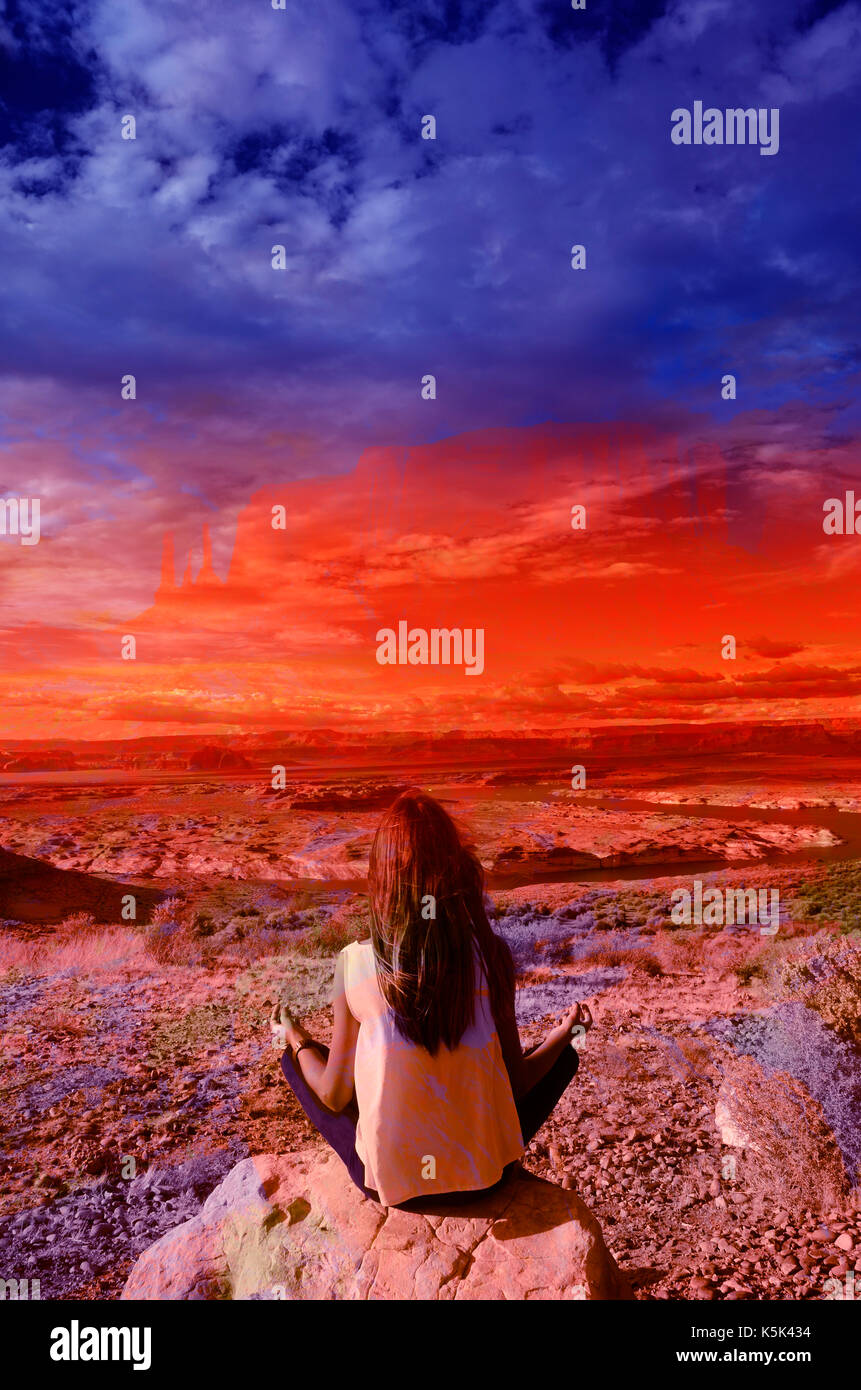 Girl practiising yoga and USA landscape, superposition of monument valley and lake powell, dream ambiance - Stock Image