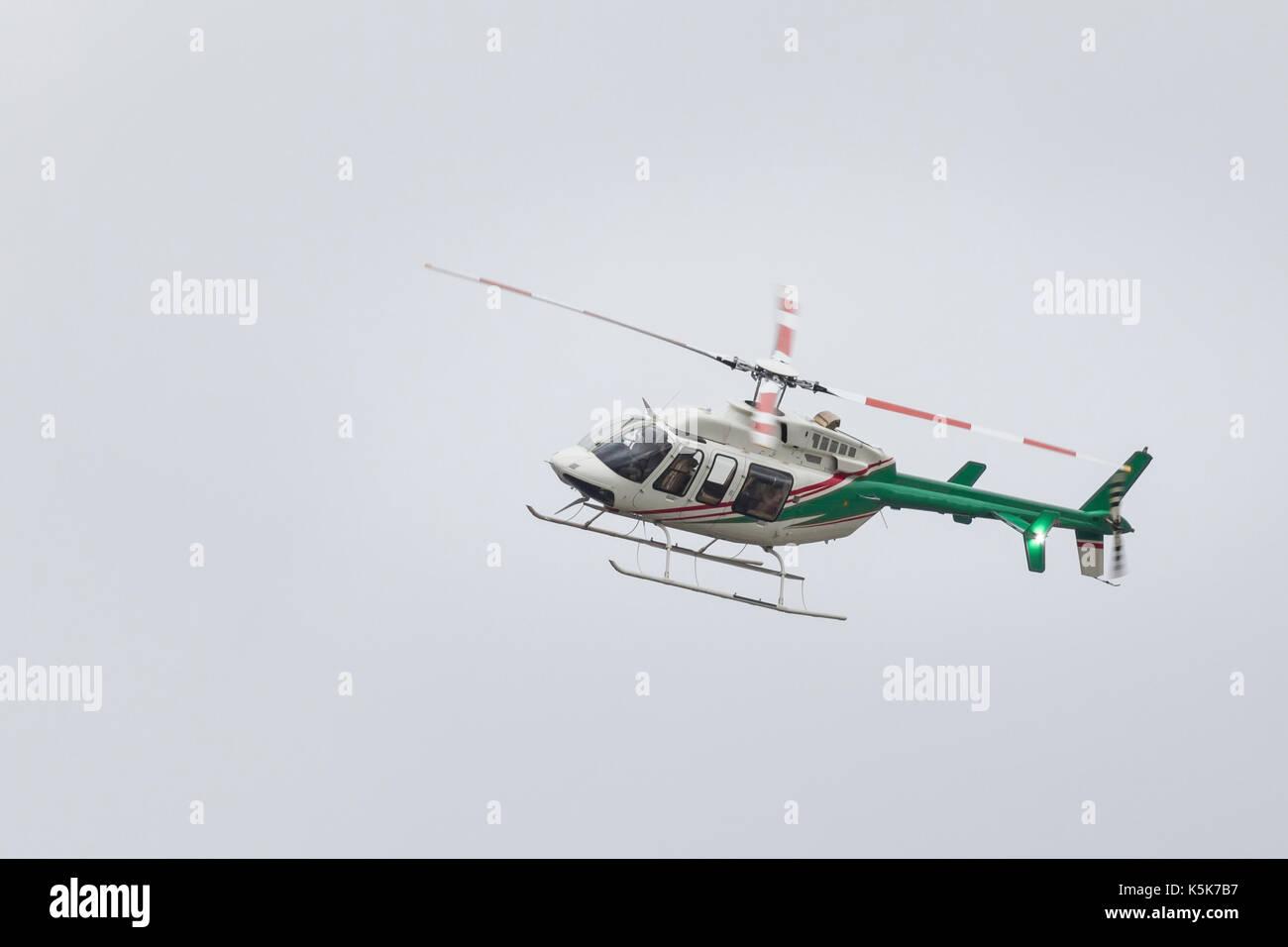 KAZAN, RUSSIA - 9 SEPTEMBER 2017: Small passenger helicopter in flight - Stock Image