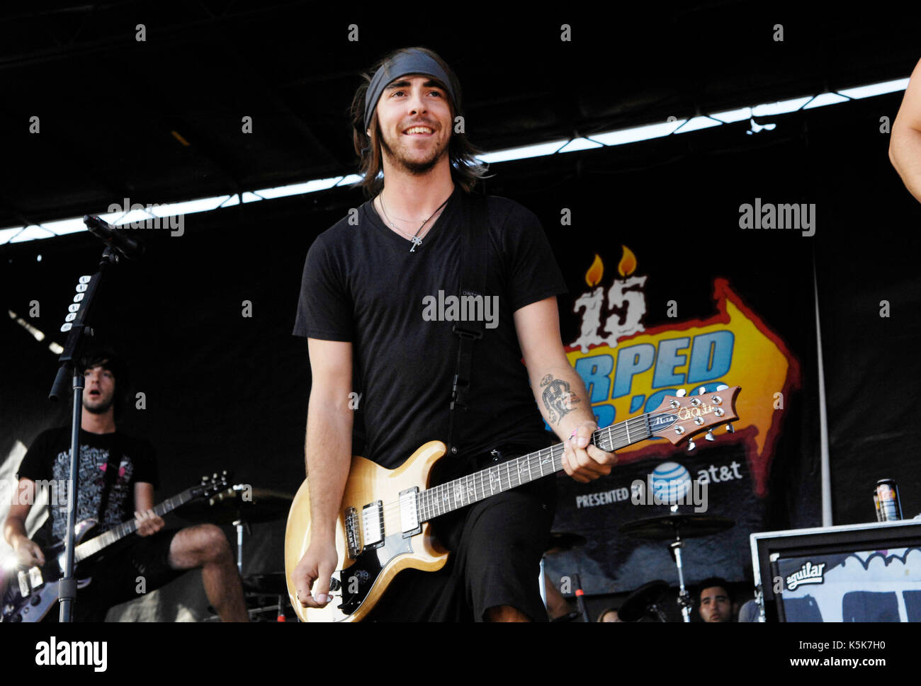 Alex Gaskarth All Time Low performs 2009 Vans Warped Tour final tour day Home Depot Center Carson. - Stock Image