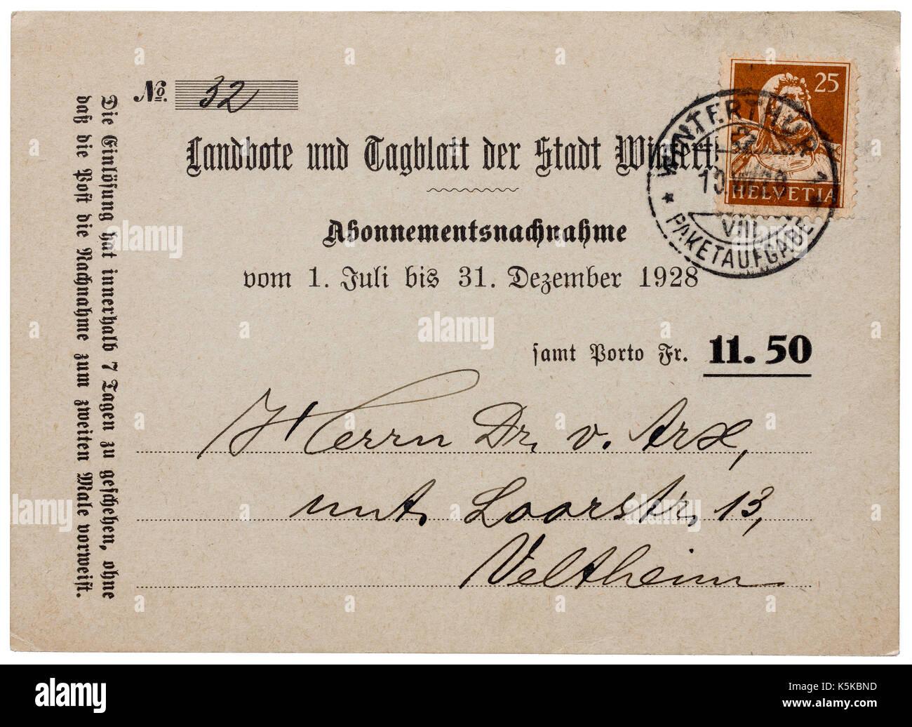 Swiss postcard used for magazine subscription invoice (Nachnahme) - Switzerland. - Stock Image