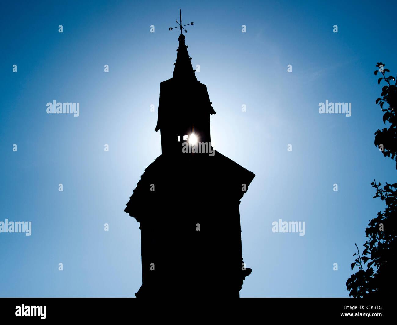 Silhouette of Prince Albert memorial clock on The Square, Barnstaple, Devon, UK - Stock Image