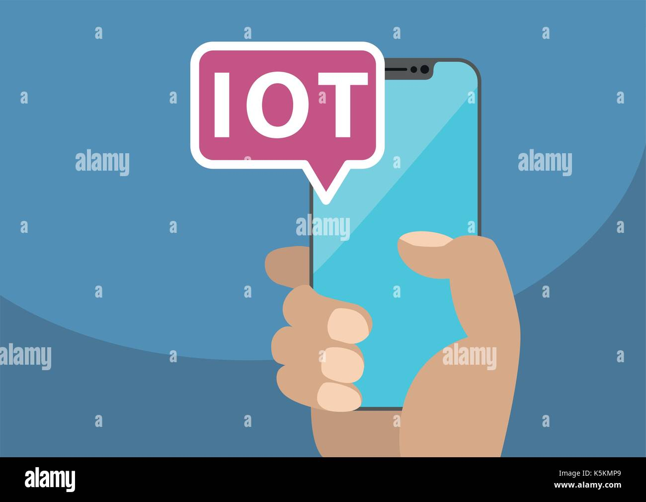 IOT / Internet of Things concept with text displayed on frameless touchscreen. Vector illustration with hand holding bezel-free smart phone Stock Vector
