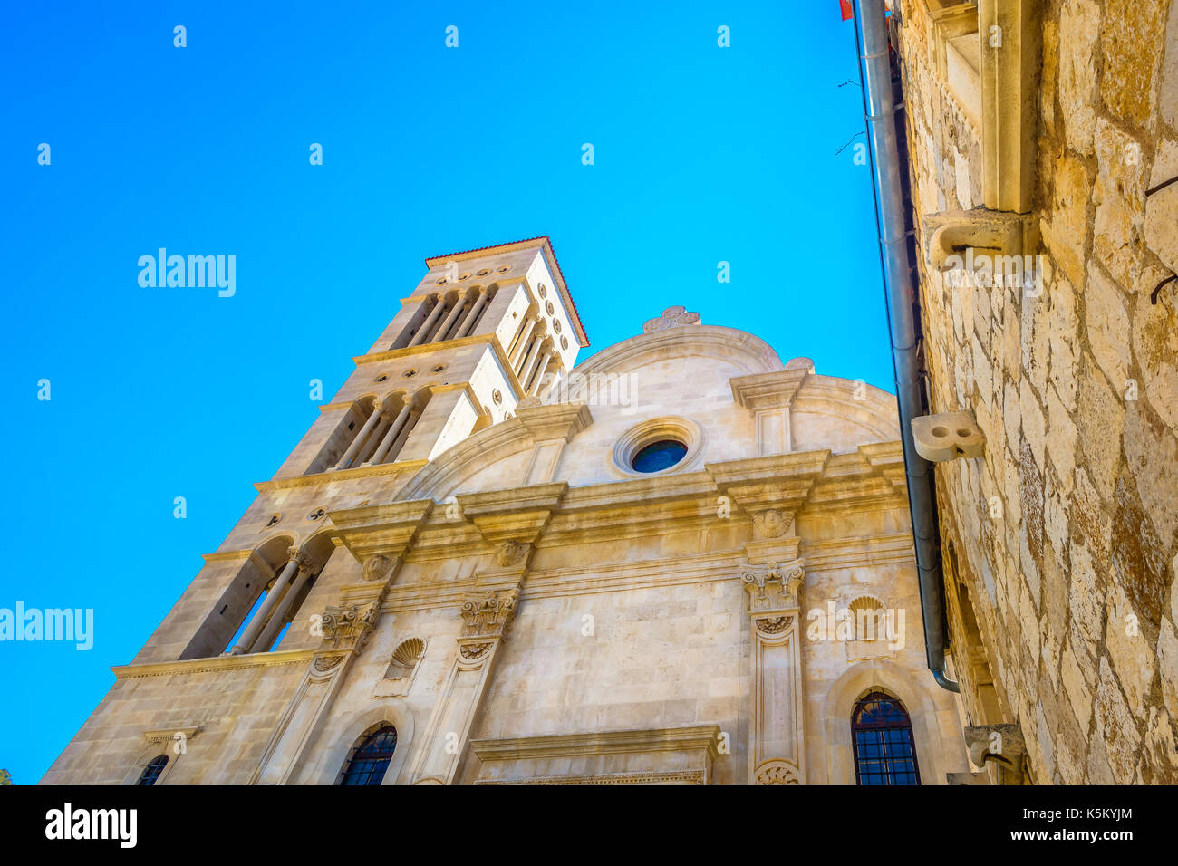 View at old famous cathedral in town Hvar, Croatia. Stock Photo
