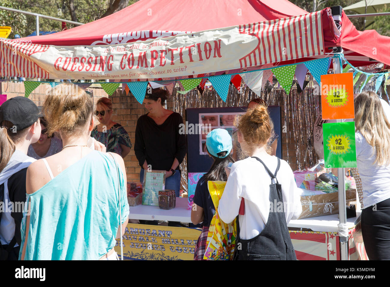 Australian school fete for the community includes games,stalls and events,Sydney,Australia - Stock Image