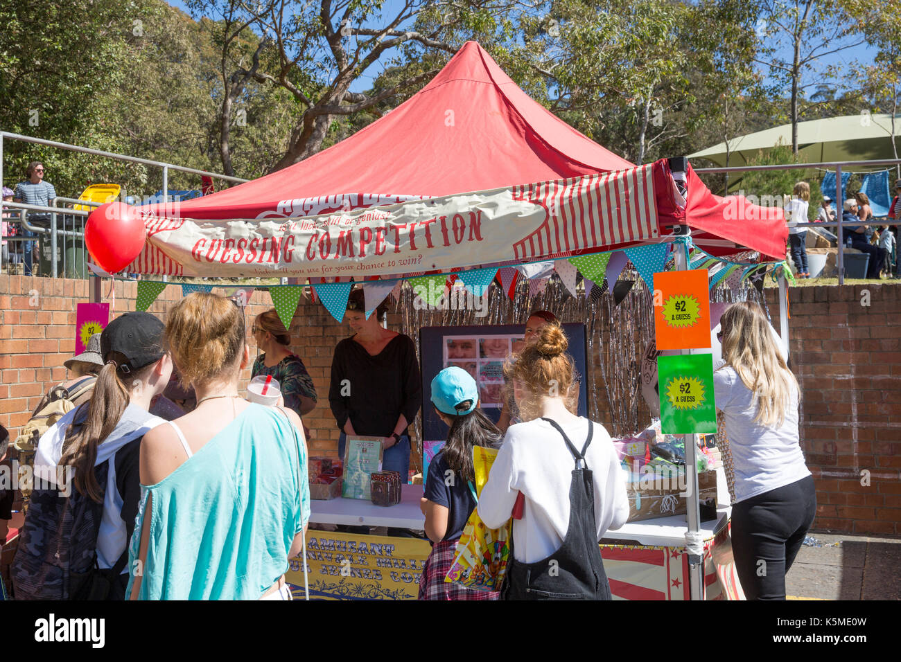Guessing competition stall for traditional fun, at an Australian school fete fair in Sydney,Australia - Stock Image