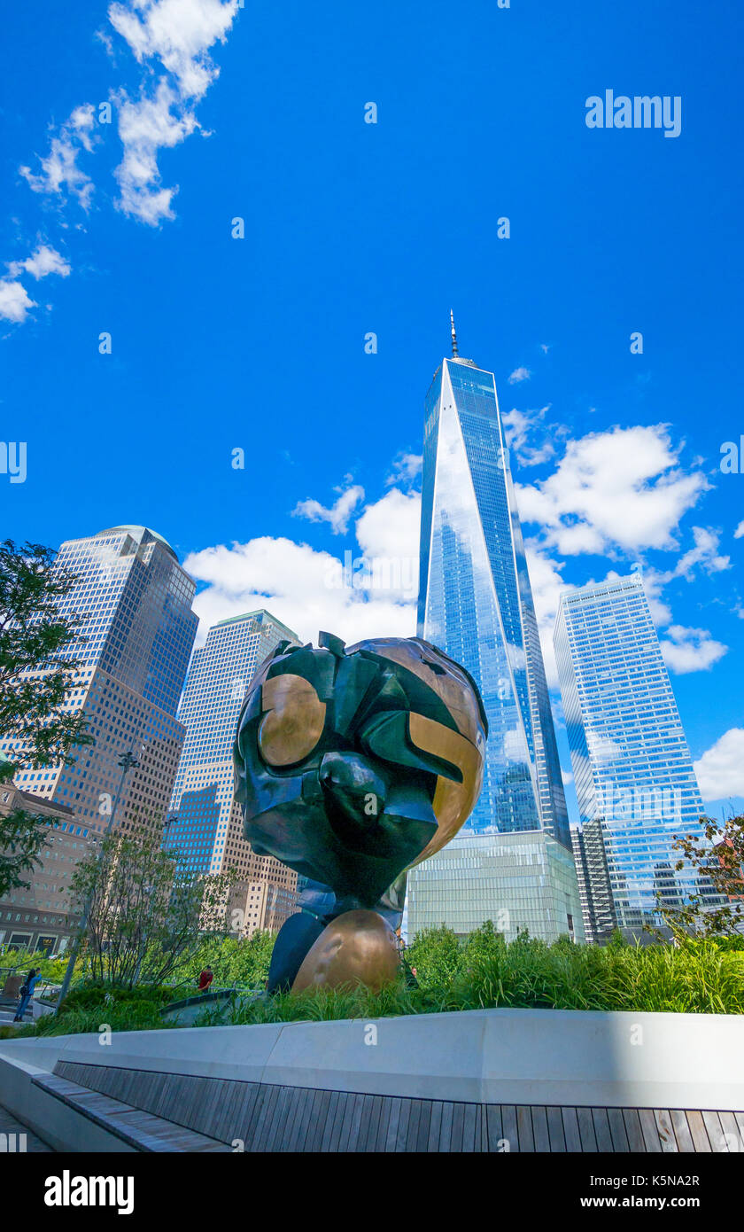 Modern sculpture by Fritz Koenig at the World Trade Center in New York City - Stock Image