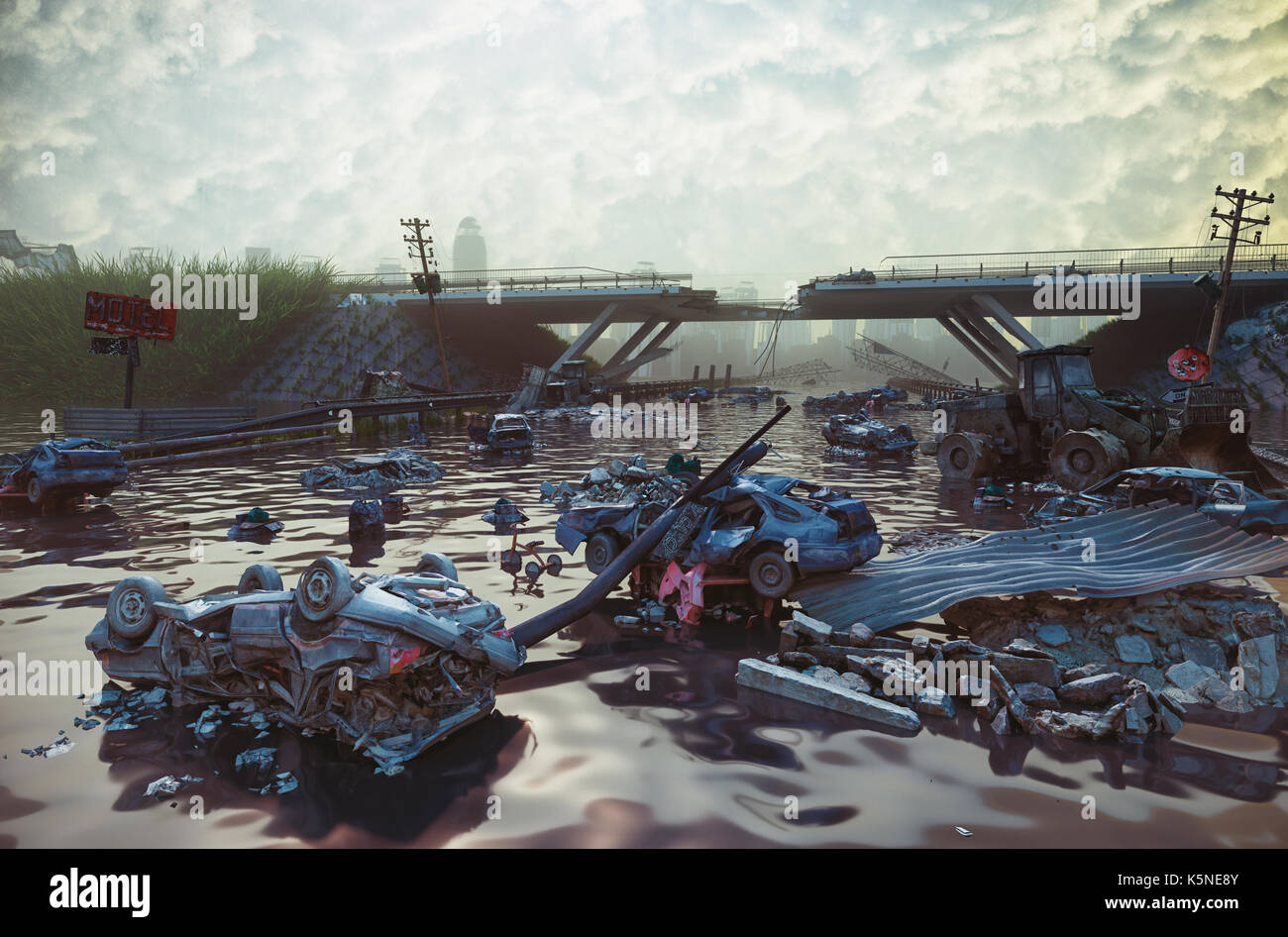 Ruins of the flooding city. Apocalyptic landscape.3d illustration concept - Stock Image