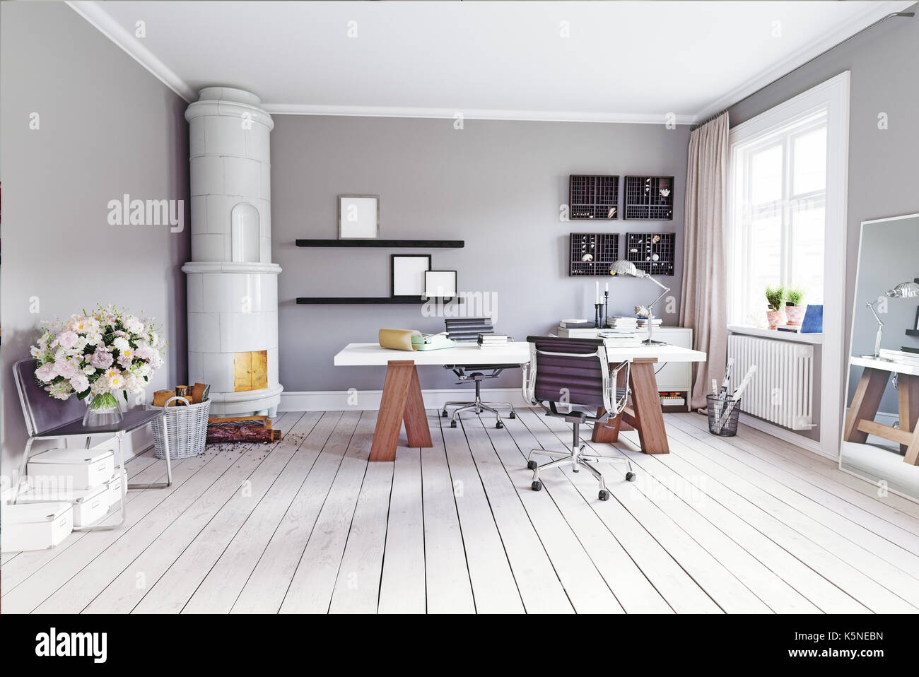 modern study room with  classic  swedish stove, table and  armchairs. 3d concept rendering - Stock Image