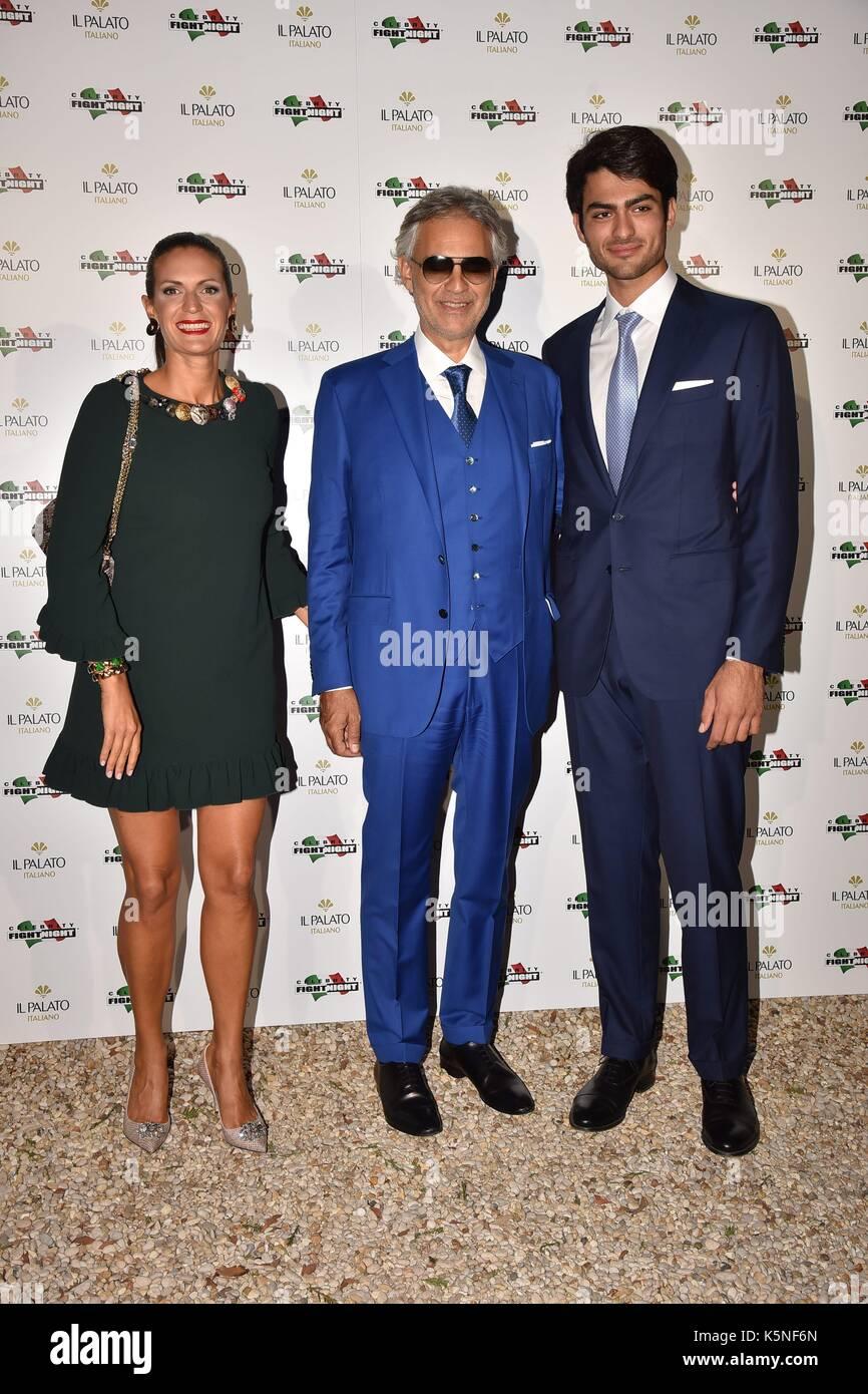 Rome, Villa Madama Dinner Celebrity Fight Night, In the photo: Andrea Bocelli Veronica Berti Matteo Bocelli - Stock Image
