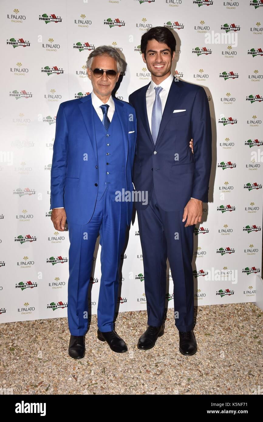 Rome, Villa Madama Dinner Celebrity Fight Night, In the photo: Andrea Bocelli Matteo Bocelli - Stock Image