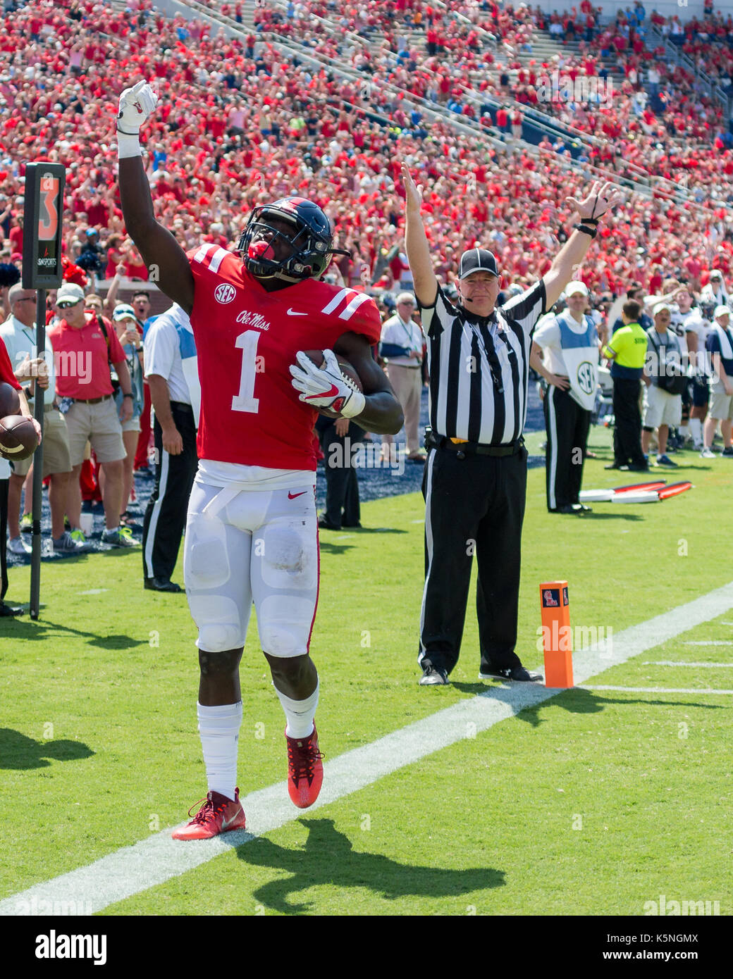 Oxford, USA.  9th Sept 2017. University of Mississippi Wide Receiver A.J. Brown (1)  celebrates scoring a touchdown during the third quarter at Vaught-Hemingway Stadium in Oxford, Mississippi,  on Saturday, September 9, 2107.  Credit: Kevin Williams/Alamy Live News. - Stock Image