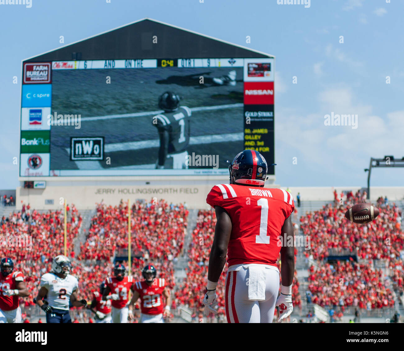 Oxford, USA.  9th Sept 2017. University of Mississippi Wide Receiver A.J. Brown (1) waits for his teammates in the endzone after scoring a touchdown during the first quarter at Vaught-Hemingway Stadium in Oxford, Mississippi,  on Saturday, September 9, 2107.  Credit: Kevin Williams/Alamy Live News. - Stock Image