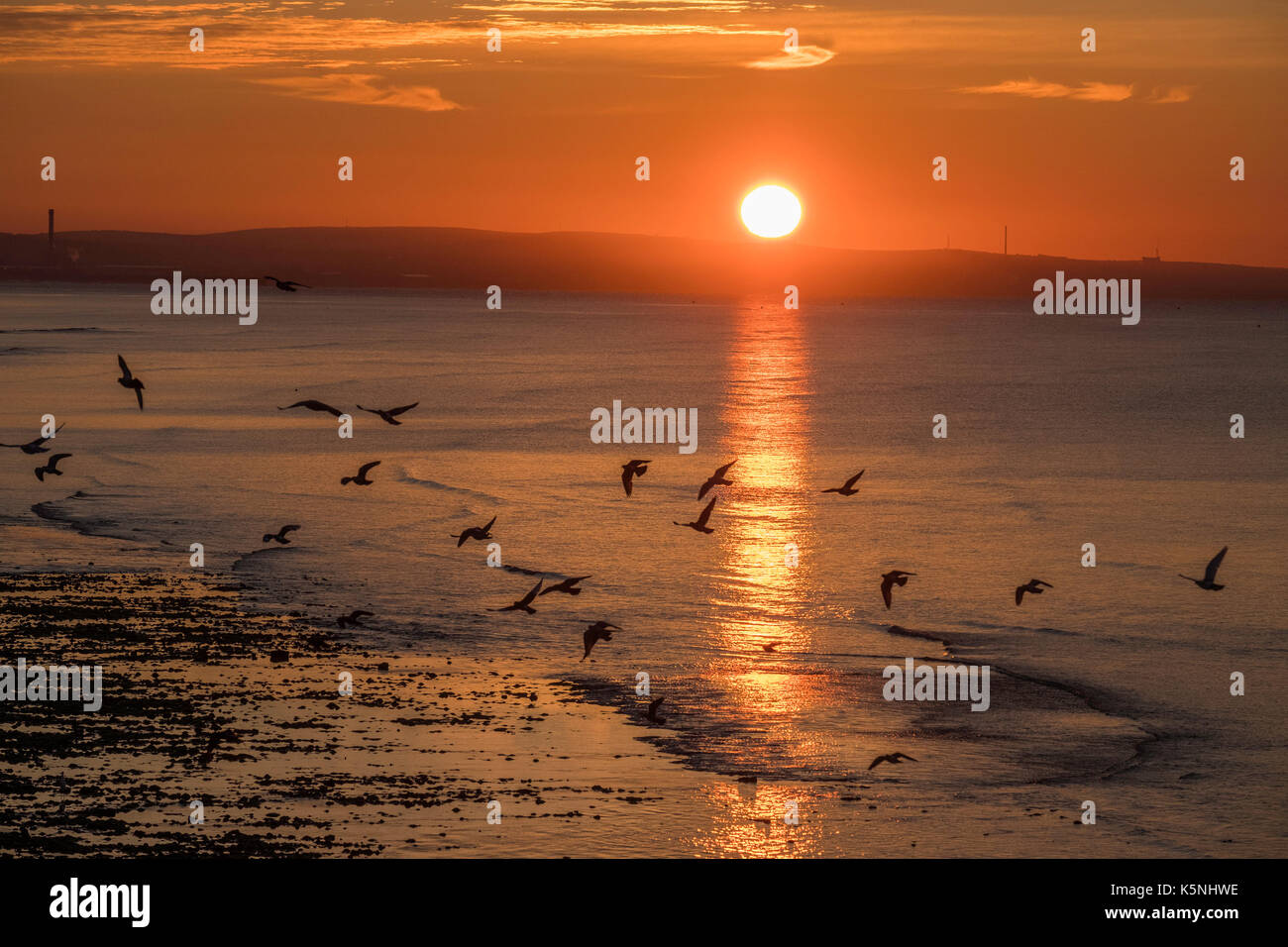 Worthing West Sussex UK, Sunday 10 th September 2017. UK Weather, As the sun rises it makes a glorious start to the day in Worthing West Sussex. © Photovision Images / Alamy Live news. - Stock Image