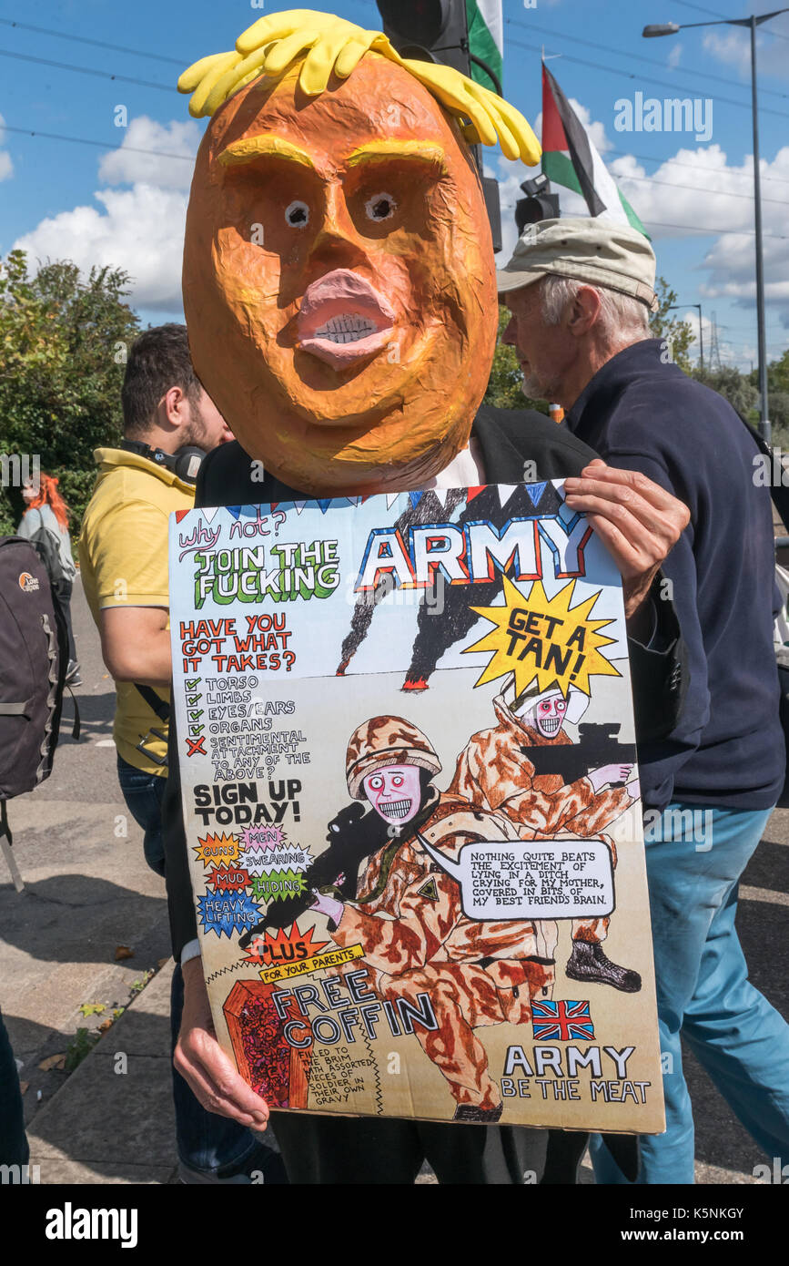 London, UK. 9th Sep, 2017. London, UK. 9th September 2017. Several hundred protesters including a man with an orange Stock Photo