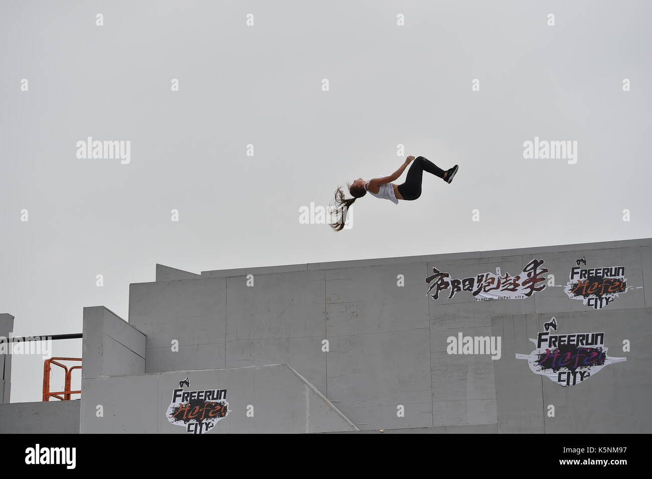 Hefei, China's Anhui Province. 9th Sep, 2017. A parkour fan from Austria takes part in a skill competition during the 2017 Hefei International Parkour Open in Hefei, capital of east China's Anhui Province, Sept. 9, 2017. The two-day contest, which kicked off on Sept. 9, attracted a good many parkour fans from the world. Credit: Yang Xiaoyuan/Xinhua/Alamy Live News - Stock Image
