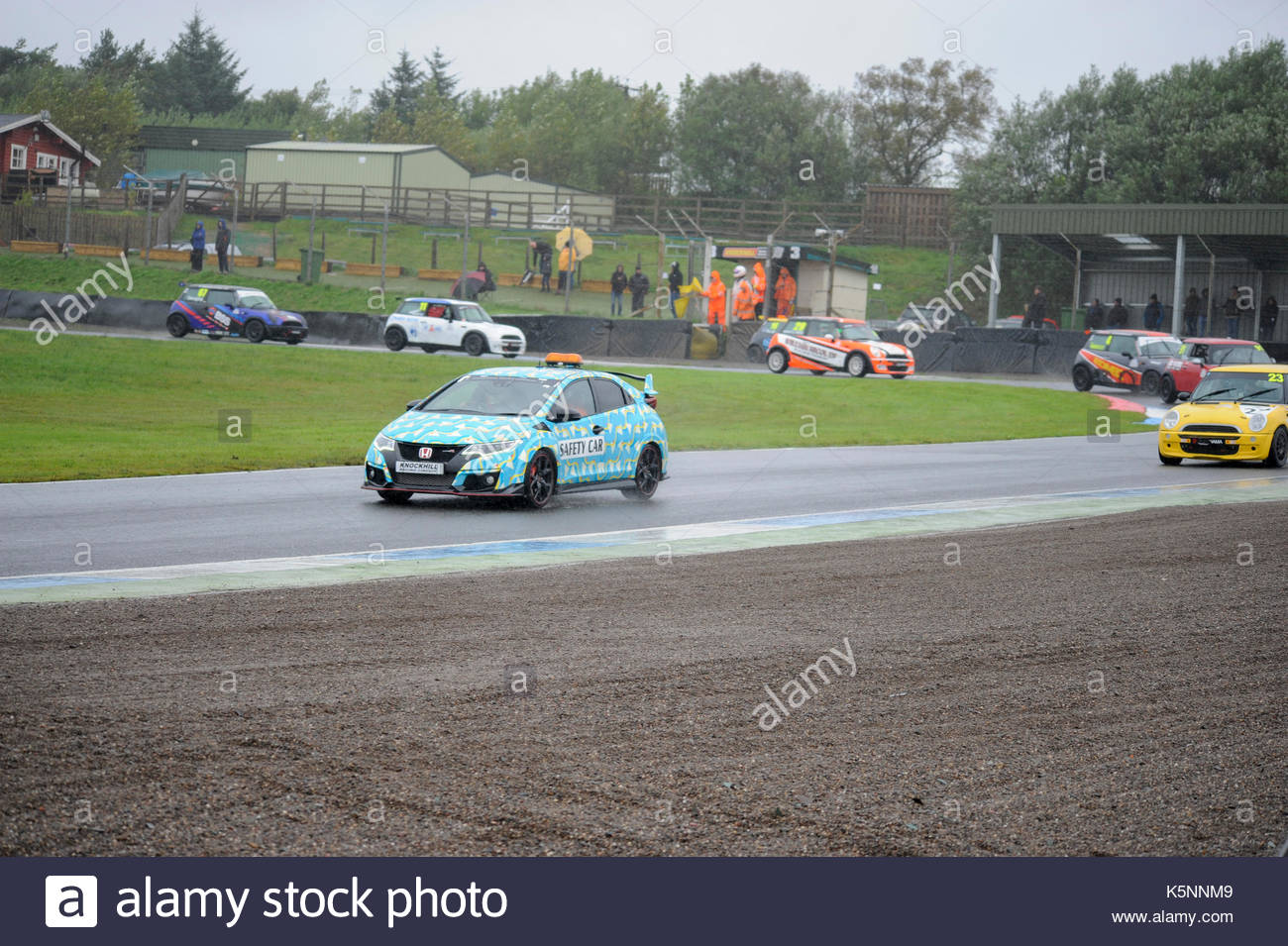 Safety car lap during a celtic speed mini cooper cup race to remove number 16 from the tyre wall at the penultimate round of the scottish championship
