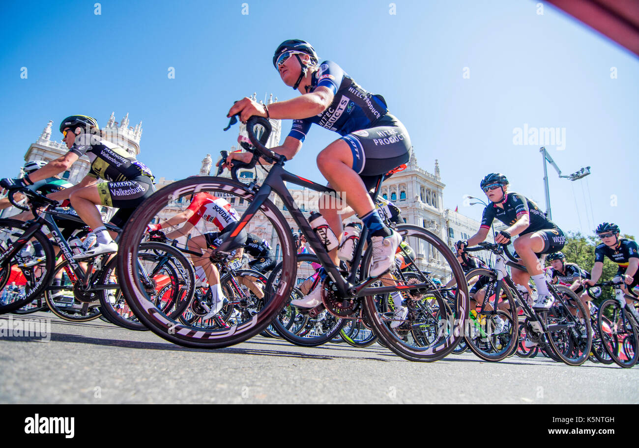 Madrid, Spain. 10th Sep, 2017. A cyclist of Susanne Andersen (Hitec Products) rides during the women cycling race Stock Photo
