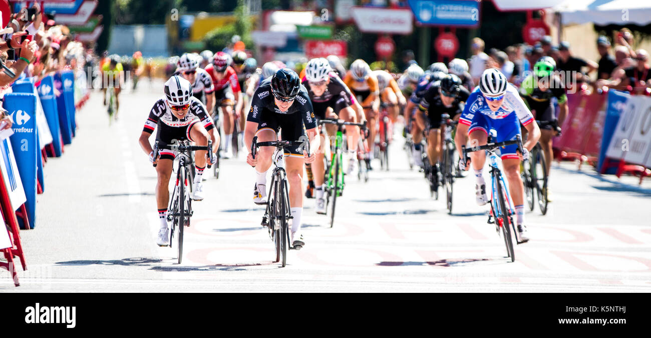 Madrid, Spain. 10th Sep, 2017. Jolien D'Hoore (Wiggle High5) wins the women cycling race 'Madrid Challenge' on September Stock Photo