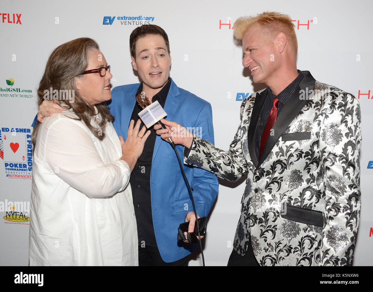 Randy Rainbow,Rosie O'Donnell Chris Valentine attends Ed Asner Friends Celebrity Poker Tournament Benefiting Autism Stock Photo