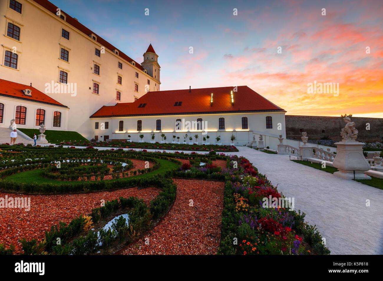 Reconstructed historical baroque garden in Bratislava castle complex, Slovakia. - Stock Image